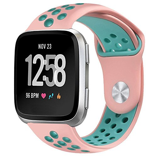 hooroor for Fitbit Versa Silicone Sport Bands for Women Men Small Large, Soft Silicone Replacement Strap Wristband for Fitbit Versa More Color Choice (#08-Pink/Teal, Small)