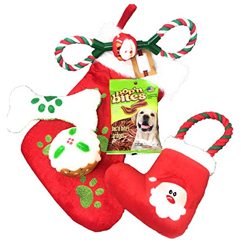 Christmas Dog Toys – Pet Stocking – 6 Pack Gift Set, Dog Chew Toys, Santa Squeaker Toys, Plush Paw Print Bone, Dog Rope Tug, Pop'n Bites Bacon Flavor Dog Behavior Treats – Deluxe XMAS Dog Toy Set