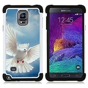 """Pulsar ( Pájaro Paloma Alas Flying Sky Dios Esperanza"""" ) Samsung Galaxy Note 4 IV / SM-N910 SM-N910 híbrida Heavy Duty Impact pesado deber de protección a los choques caso Carcasa de parachoques"""