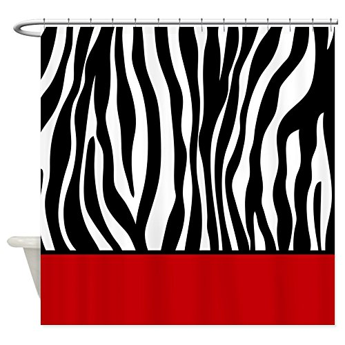 CafePress - Zebra Pattern Red Stripe Shower Curtain - Decorative Fabric Shower - Pattern Zebra Red