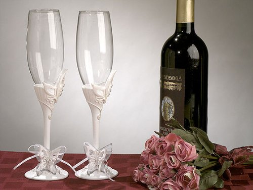 CC412 Butterfly Theme Toasting Glass Set Wedding Favors & - Toasting Theme Glasses