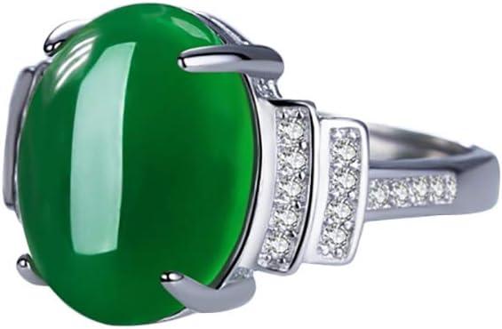 iTemer 1 Pieza de Exquisito diseño de Incrustaciones de Piedra de ágata para Mujer Anillo Ajustable Regalo de joyería Verde