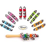 Senyida Band Wrist Bell 10 PCS Multi-Color Kids Jingle Bells Musical Rhythm Toys Rattles Ring Bracelet with Wood Bell School Party for Children