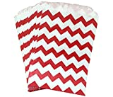 AKOAK 50 Pcs 5 x 7 Inches White and Red Wave Striped Paper Bags,Holiday Wedding Christmas Favor Candy Treat Bags