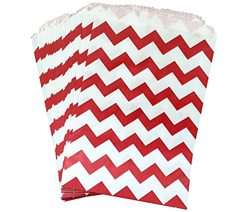 AKOAK 50 Pcs 5 x 7 Inches White and Red Wave Striped Paper Bags,Holiday Wedding Christmas Favor Candy Treat Bags -