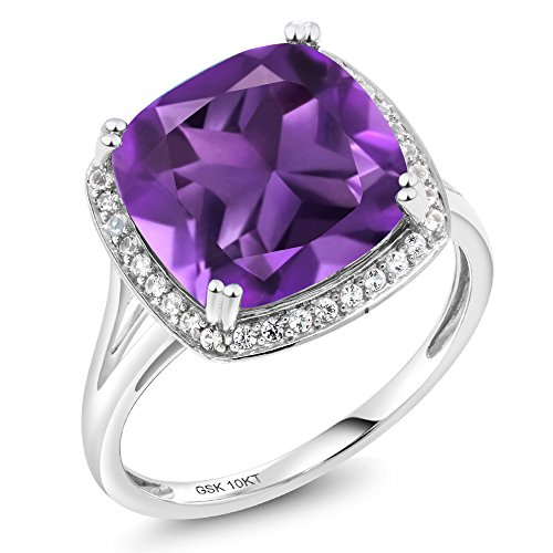 - Gem Stone King 10K White Gold Purple Amethyst and White Diamond Women's Ring 6.74 Ct Cushion Cut (Size 6)
