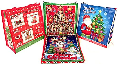 Bundle-4 Items: Set of Four Reusable Christmas Tote/Gift/Shopping Bags