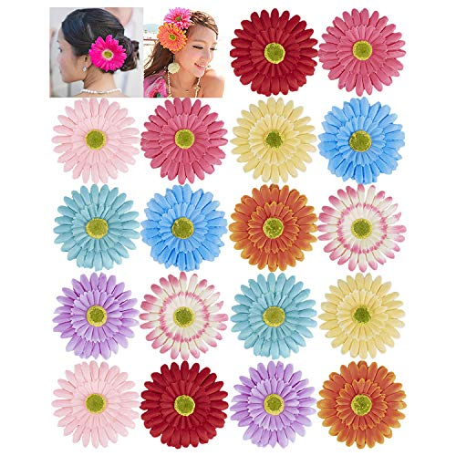 18 Pack Fake Artificial Silk Gerbera Daisy Flower Sunflower Daisies Hair Clips Barrettes Clamp Clasps Bow With Alligator Brooch Pin Tropical Hair Pieces Accessories African Beach Holiday Wedding Party ()