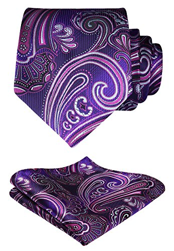 - HISDERN Paisley Wedding Tie Handkerchief Woven Classic Men's Necktie & Pocket Square Set Purple & Pink