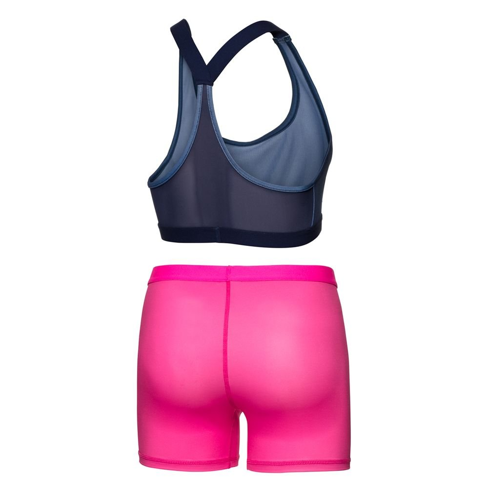 3 in 1 BIDI BADU Tennis Dress Women Incl Afia Tech Dress Figure-Hugging Cut Sport Bra and Shorts Blue Sport Dress SP18 - Darkblue//Pink