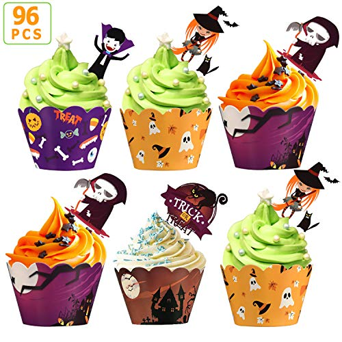 Different Types Of Halloween Cupcakes (MGparty 96 pcs Halloween Party Supplies-48 pcs Cupcake Toppers 48 pcs Wrappers, Four Different Types Toppers Wrappers for Cake)