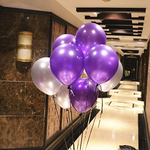 12 inch 2.8g Purple and Silver pearl balloons 50 pcs/ lot Latex round balloons wedding birthday party kids toys