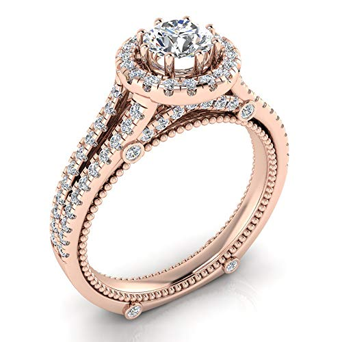 1.00 ct tw Vintage Look 14K Rose Gold Split Shank Diamond Engagement Ring (Ring Size 5.5) -