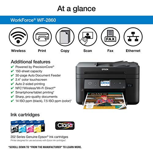 Epson All-in-One Wireless Color Scanner, Wi-Fi Amazon Dash Enabled