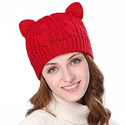 Imixshopcs Womens Devil Horns Cat Ear Warm Korean Braided Knit Ski Beanie Wool Cap Hat (Black)