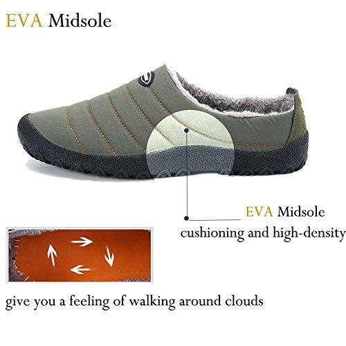 1 with House Khaki Outdoor Soft on Lxso Sole Non Slip Wool Shoes Slip Lined Slippers Men Women Indoor Plush OxEqU