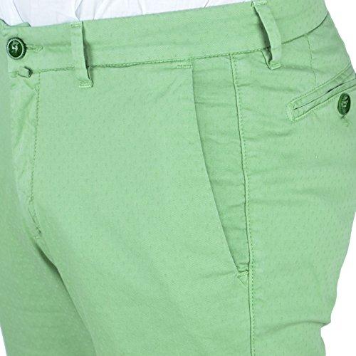 Pantalone Uomo Slim Fit Comfort Tasca America Cotone Exigo Verde Chiaro Microfantasia Jeans Chino