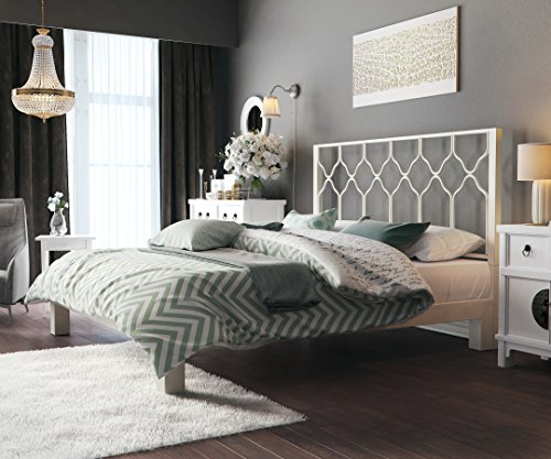 In Style Furnishings Aura Modern Metal Low Profile Thick Slats Support Platform Bed Frame With Honeycomb Headboard - Queen Size, White