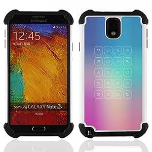 """SAMSUNG Galaxy Note 3 III / N9000 / N9005 - 3 en 1 impreso colorido de Altas Prestaciones PC Funda chaqueta Negro cubierta gel silicona suave (Glass App púrpura azul Niebla Mensaje"""")"""