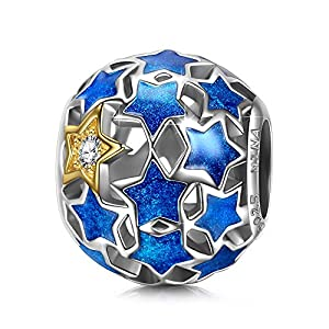 NINAQUEEN FBA ♥Starry Night Bead Buy One Get a (B017ARWC2Y) Add Both to Cart♥ 925 Sterling Silver Blue Enamel Charms Beads Well for Necklaces, Gifts for Women with an Exquisite Package