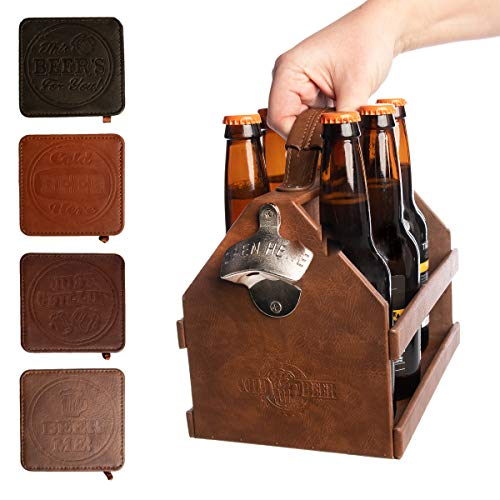 Tailgate Beer Caddy with Bottle Opener & Coasters for Drinks Beer Holder 6 Pack Square Coaster Set