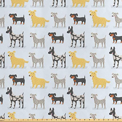 (Lunarable Kids Fabric by The Yard, Cute Dogs Dalmatian Yorkshire Terrier German Shorthaired Pointer Playroom Nursery, Decorative Satin Fabric for Home Textiles and Crafts, 2 Yards,)