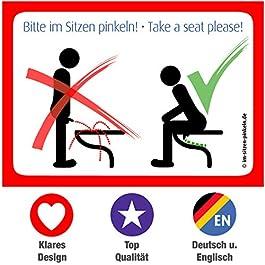 4x toilet stickers – Sit down to pee! – Take a seat please