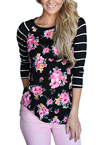 Bdcoco Women's Striped 3/4 Sleeve Floral Print T-Shirts Casual Blouse Tops X-Large (Floral Pink Shirt Top)