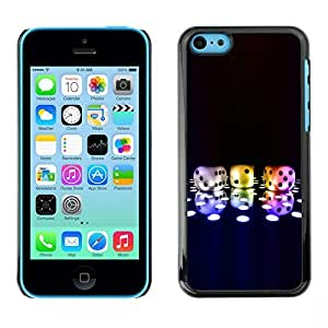 LASTONE PHONE CASE / Slim Protector Hard Shell Cover Case for Apple Iphone 5C / Dice Game Neon Disco Bling Poker Numbers