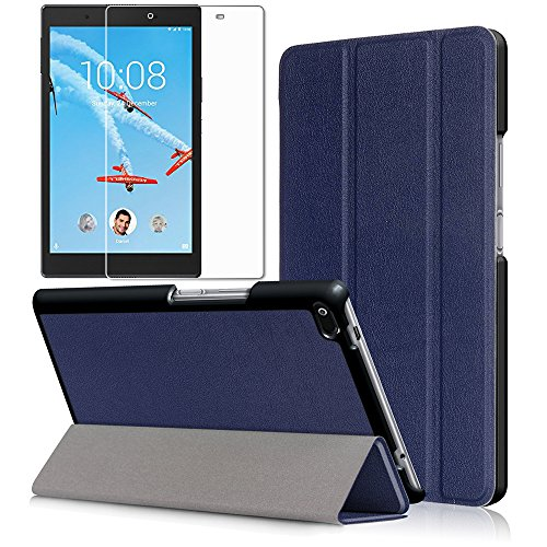 Gzerma Tablet Case for Lenovo Tab 4 8 with Screen Protector, Ultra Slim Light PU Leather Child Proof Multi-Stand Smart Cover and HD Clear Anti Glare Protective Film for Lenovo Tab 4 8 inch Tablet Blue