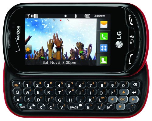 (Verizon LG Extravert No Contract QWERTY 2MP Camera Touchscreen Cell Phone - Red/Black - For Verizon Postpaid Plans)
