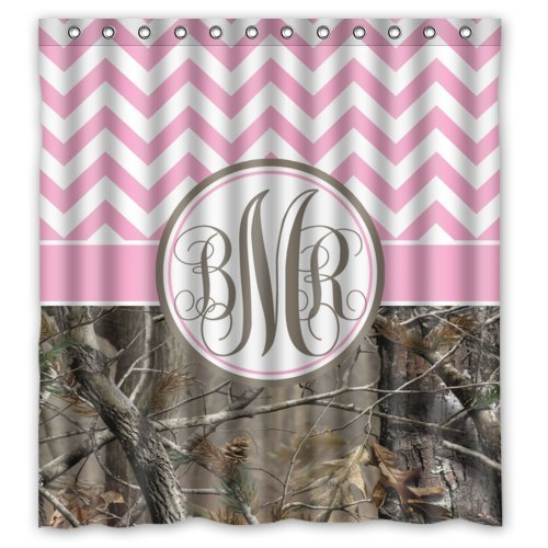 Amazon Waterproof Bathroom Girl Light Pink And White Chevron Camo Monogrammed Initials Shower Curtain 66 X 72 Clothing