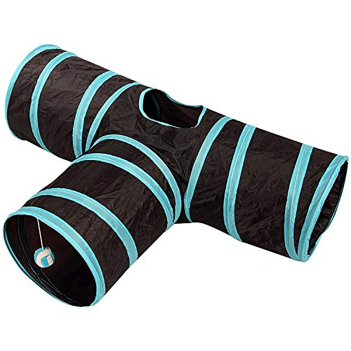 3 Way Cat Tunnel Collapsible Pet Play Tunnel Tube Toy with Crinkle & Balls Toy for Cat, Small Dogs, Kitty, Kitten, Rabbit CT097