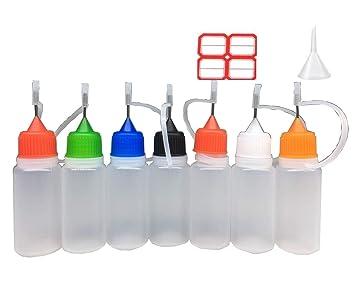 10 X paquete de 10 agujas goteador Eliquid botellas de ml con embudo y etiquetas,