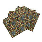 Roostery Stained Glass Medieval Geometric Bright Window Leading Organic Sateen Dinner Napkins Stained Glass ~ Adela by Peacoquettedesigns Set of 4 Dinner Napkins