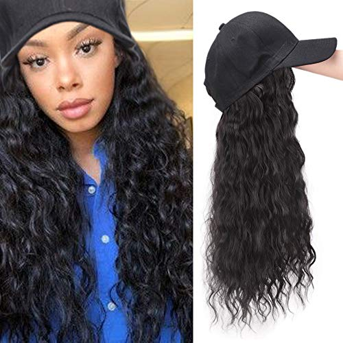 (Synthetic Long Wave Baseball Cap with Hair Brown Black Wavy Women Hats with Hair Wavy Extensions (Brown Black))