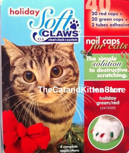 Soft Claws for Cats, Size Small, Color Holiday (Red and Green), My Pet Supplies
