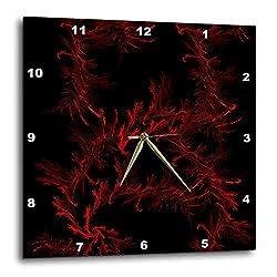 3dRose Digital Art by Brandi - Veins - Abstract red lines on black background - 15x15 Wall Clock (dpp_289215_3)