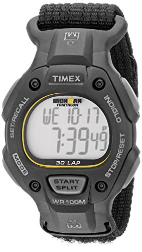 Timex Men's T5K693 Ironman Classic 30 Full-Size Black Fast Wrap Watch 2nd Time Zone Black Dial