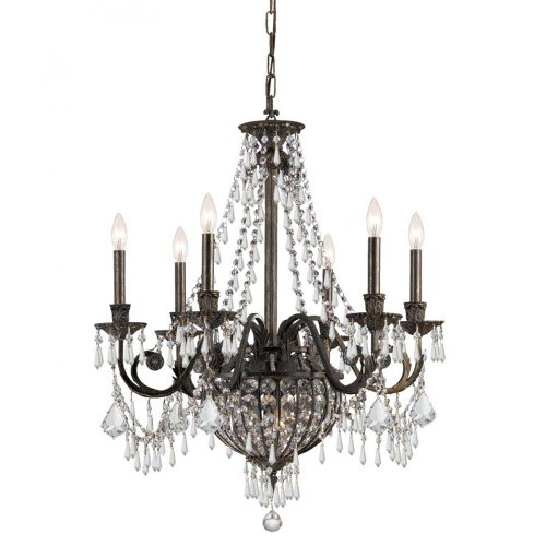 Crystorama 5166-EB-CL-MWP Crystal Accents Six Light Chandeliers from Vanderbilt collection in Bronze/Darkfinish,
