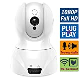 Cheap WiFi Wireless IP Camera for Home/Shop Security Surveillance, 1080P HD Infrared Night Vision Pan Tilt, Support Cellphone APP & Computer, SD Card Recording, Motion Alert, Microphone 2 Way Audio (White)