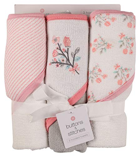 Buttons and Stitches Baby Infant 3 Pack Hooded Towel