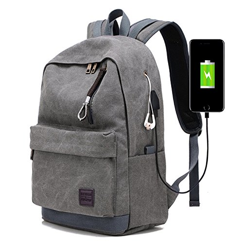 Canvas Backpack Daypack Book bag 15.6' Laptop Rucksack for School Travel Hiking (1-Grey)
