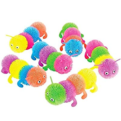Rhode Island Novelty 6 Inch 4 Ball Caterpillar Puffer Toy Set of 6: Toys & Games