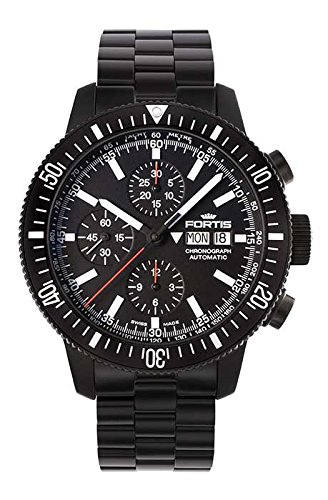 Fortis Official Cosmonauts Automatic Choronograph Black Dial Black PVD Mens Watch 6381831M