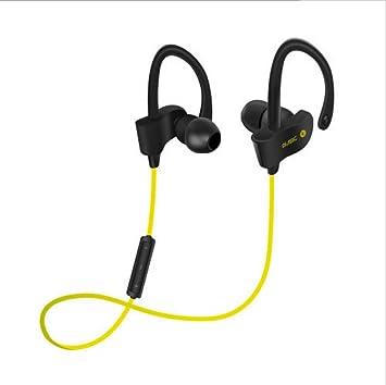 Auriculares Bluetooth Deporte Inalámbrico Bluetooth 4.1 Versión Colgante oído Estéreo Binaural IPX4 a Prueba de Agua (Color : Amarillo): Amazon.es: ...