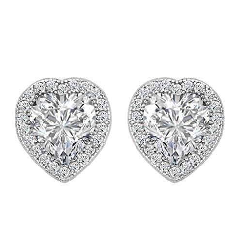 Silver Sterling Earrings Heart Shape (BriLove Women 925 Sterling Silver Wedding Bride Love Halo Heart Shape Austrian Crystal Stud Earrings 10mm Clear April Birthstone)