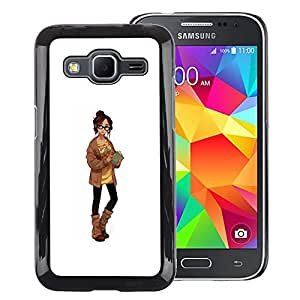 A-type Arte & diseño plástico duro Fundas Cover Cubre Hard Case Cover para Samsung Galaxy Core Prime (Smart Girl Sexy Librarian Sweater Woman)