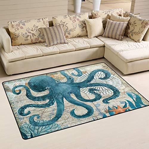 Blue Octopus Nautical Map Area Rugs 5' x 3' Door Mats Indoor Polyester Non Slip Multi Rectangle Carpet Kitchen Floor Runner Decoration for Home Bedroom Living Dining Room ()
