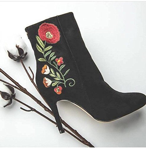 Ravel Cedar Ladies Black Suede Floral Embroidered Stiletto High Heeled Ankle Boots Womens Booties Black MtthtuURJ2